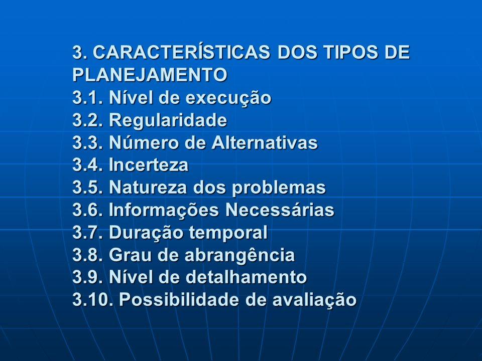 3. CARACTERÍSTICAS DOS TIPOS DE PLANEJAMENTO 3.1. Nível de execução 3.2. Regularidade 3.3. Número de Alternativas 3.4. Incerteza 3.5. Natureza dos pro