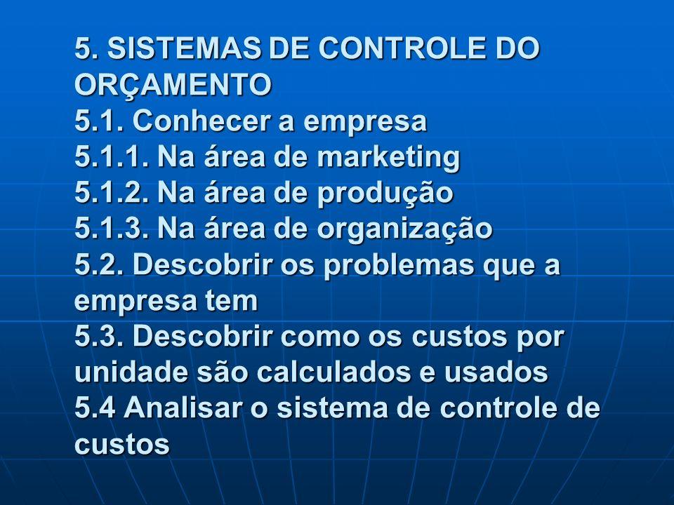 5. SISTEMAS DE CONTROLE DO ORÇAMENTO 5.1. Conhecer a empresa 5.1.1. Na área de marketing 5.1.2. Na área de produção 5.1.3. Na área de organização 5.2.