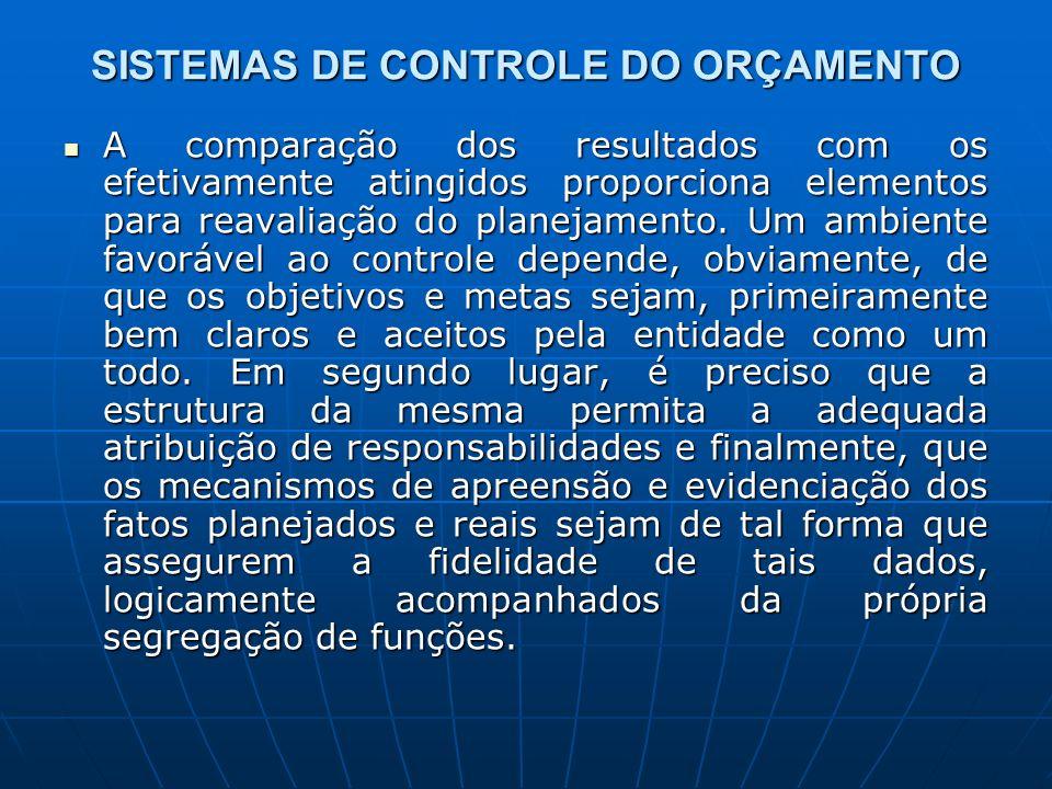 SISTEMAS DE CONTROLE DO ORÇAMENTO A comparação dos resultados com os efetivamente atingidos proporciona elementos para reavaliação do planejamento. Um