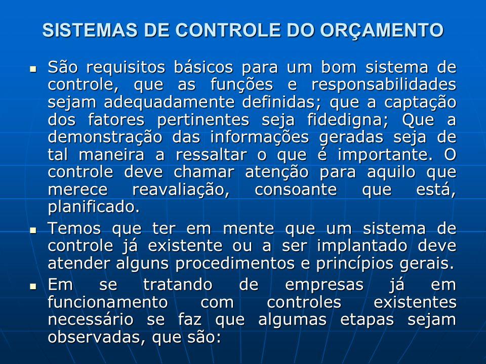 SISTEMAS DE CONTROLE DO ORÇAMENTO São requisitos básicos para um bom sistema de controle, que as funções e responsabilidades sejam adequadamente defin