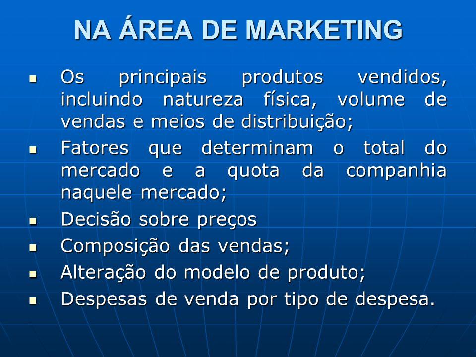 NA ÁREA DE MARKETING Os principais produtos vendidos, incluindo natureza física, volume de vendas e meios de distribuição; Os principais produtos vend