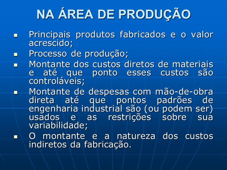 NA ÁREA DE PRODUÇÃO Principais produtos fabricados e o valor acrescido; Principais produtos fabricados e o valor acrescido; Processo de produção; Proc