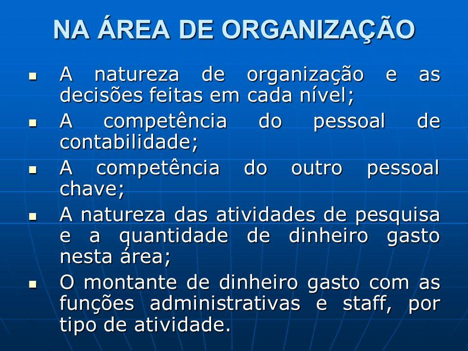 NA ÁREA DE ORGANIZAÇÃO A natureza de organização e as decisões feitas em cada nível; A natureza de organização e as decisões feitas em cada nível; A c