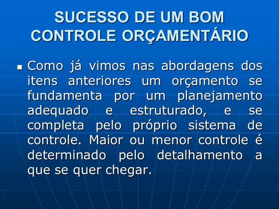 SUCESSO DE UM BOM CONTROLE ORÇAMENTÁRIO Como já vimos nas abordagens dos itens anteriores um orçamento se fundamenta por um planejamento adequado e estruturado, e se completa pelo próprio sistema de controle.