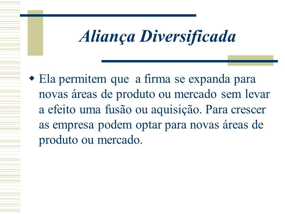 Aliança Diversificada Ela permitem que a firma se expanda para novas áreas de produto ou mercado sem levar a efeito uma fusão ou aquisição. Para cresc