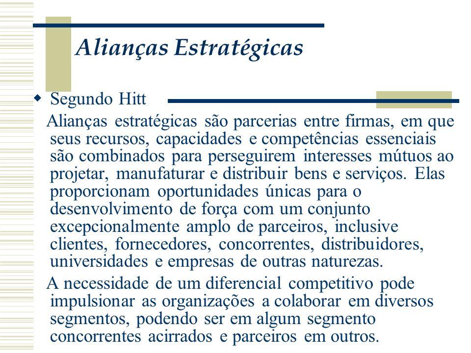 Alianças Estratégicas Segundo Hitt Alianças estratégicas são parcerias entre firmas, em que seus recursos, capacidades e competências essenciais são c
