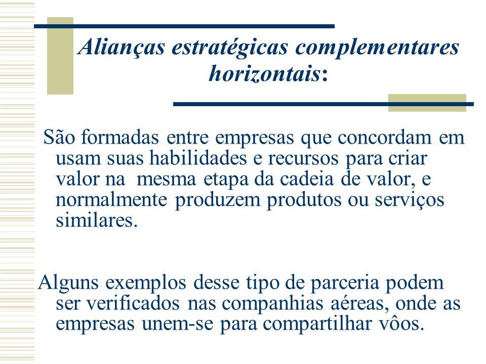 Alianças estratégicas complementares horizontais: São formadas entre empresas que concordam em usam suas habilidades e recursos para criar valor na me