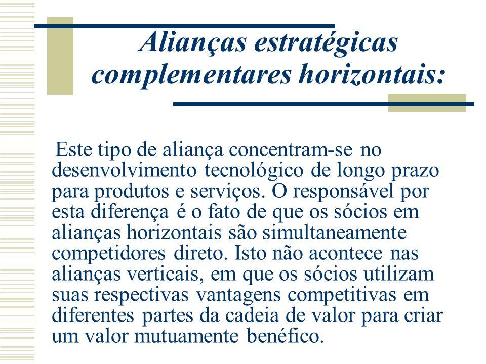 Alianças estratégicas complementares horizontais: Este tipo de aliança concentram-se no desenvolvimento tecnológico de longo prazo para produtos e ser