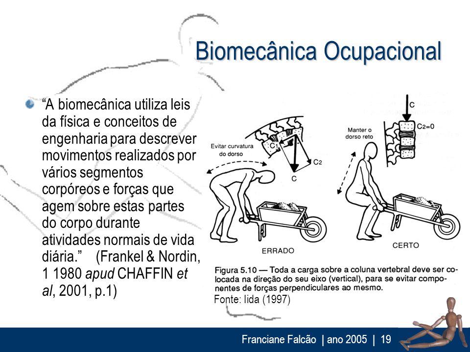 Franciane Falcão   ano 2005  19 Biomecânica Ocupacional A biomecânica utiliza leis da física e conceitos de engenharia para descrever movimentos reali
