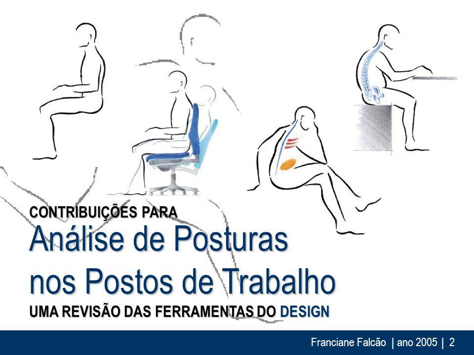 Franciane Falcão | ano 2005| 3 Design x Análise da Tarefa ANÁLISE DE POSTURAS NOS POSTOS DE TRABALHO ?!?!