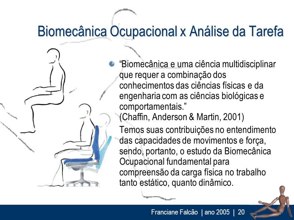 Franciane Falcão   ano 2005  20 Biomecânica Ocupacional x Análise da Tarefa Biomecânica e uma ciência multidisciplinar que requer a combinação dos con