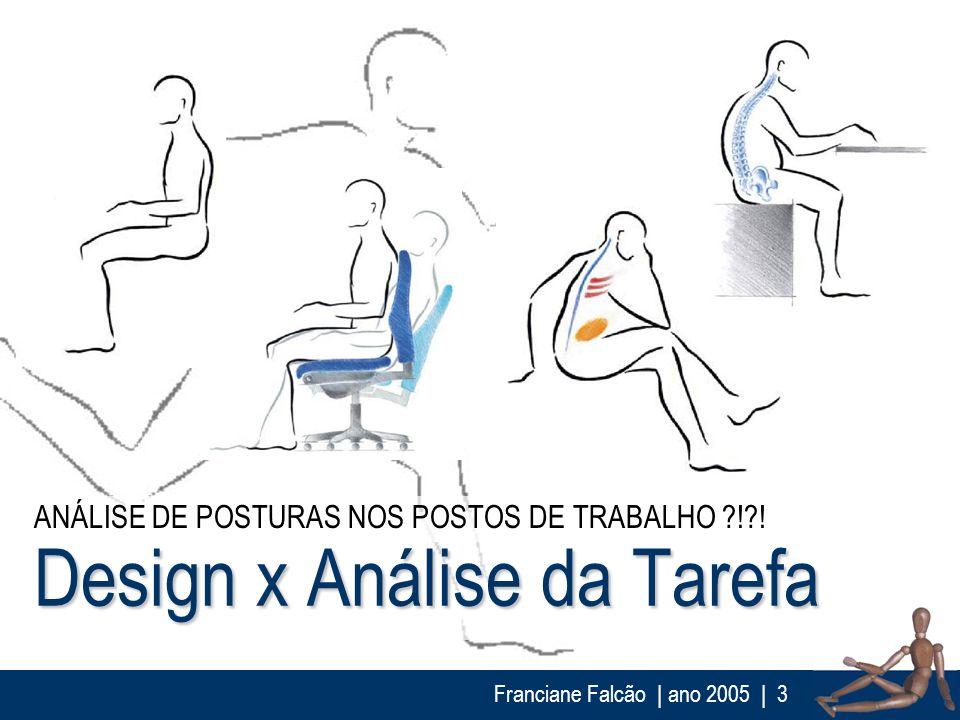 Franciane Falcão   ano 2005  3 Design x Análise da Tarefa ANÁLISE DE POSTURAS NOS POSTOS DE TRABALHO ?!?!