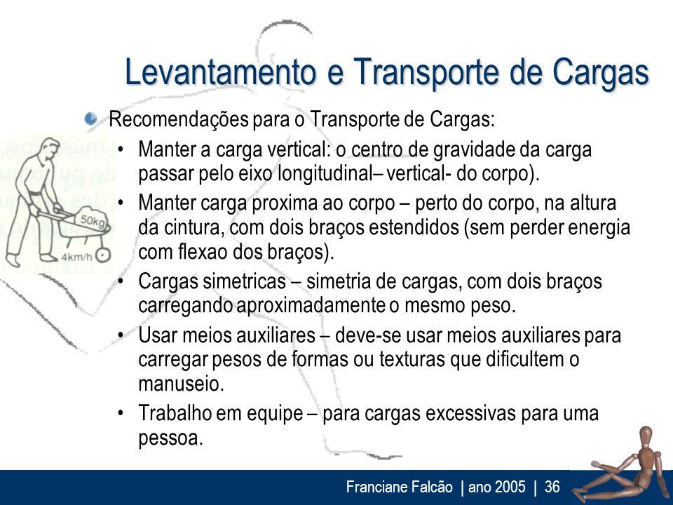 Franciane Falcão   ano 2005  36 Levantamento e Transporte de Cargas Recomendações para o Transporte de Cargas: Manter a carga vertical: o centro de gr