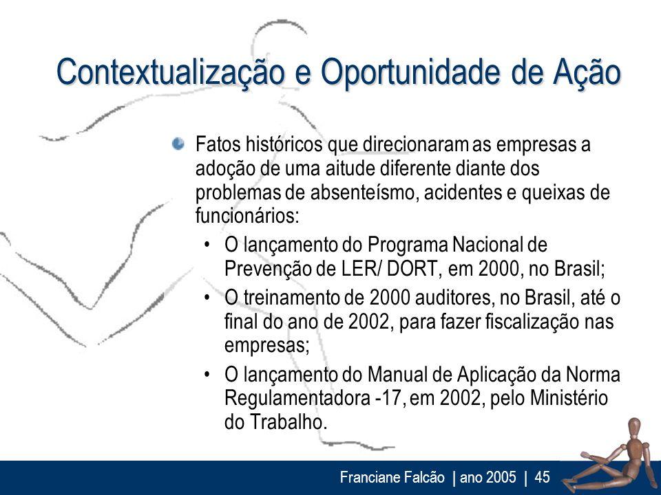 Franciane Falcão   ano 2005  45 Contextualização e Oportunidade de Ação Fatos históricos que direcionaram as empresas a adoção de uma aitude diferente