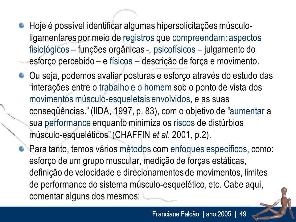 Franciane Falcão   ano 2005  49 Hoje é possível identificar algumas hipersolicitações músculo- ligamentares por meio de registros que compreendam: asp