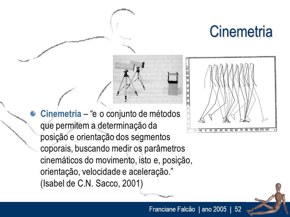 Franciane Falcão   ano 2005  52 Cinemetria Cinemetria – e o conjunto de métodos que permitem a determinação da posição e orientação dos segmentos copo