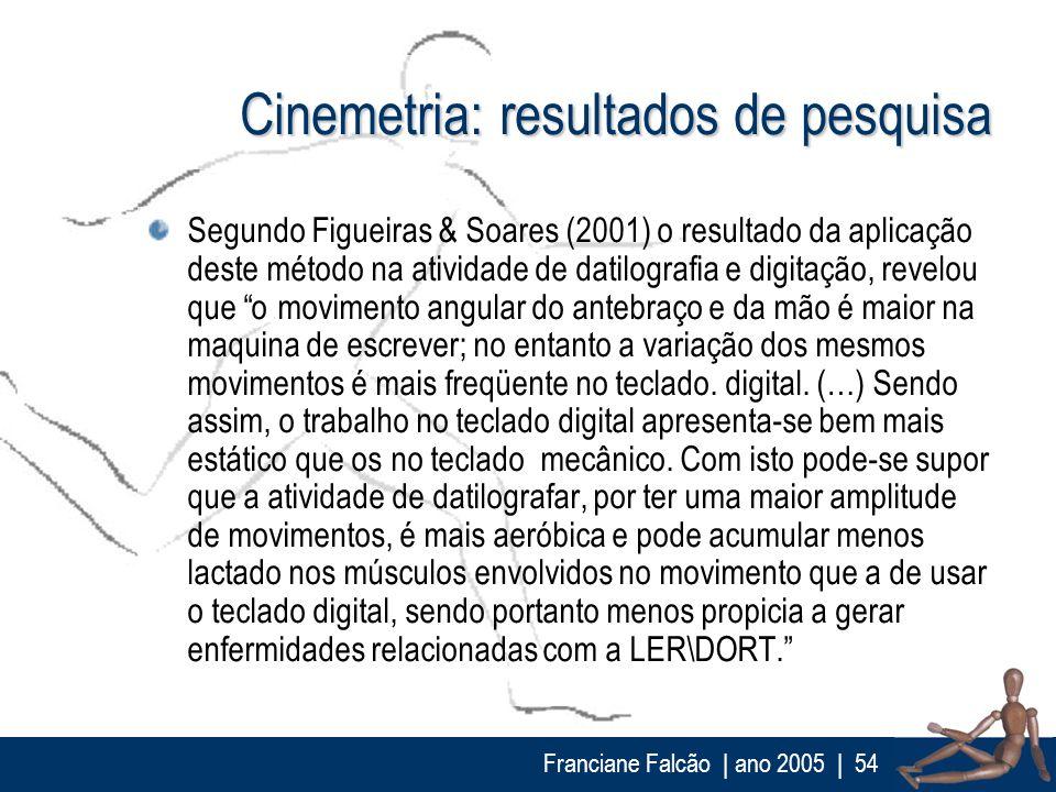 Franciane Falcão   ano 2005  54 Cinemetria: resultados de pesquisa Segundo Figueiras & Soares (2001) o resultado da aplicação deste método na atividad
