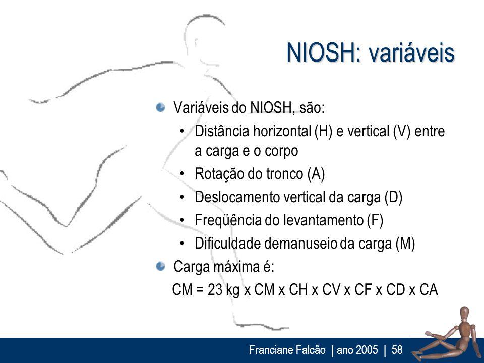 Franciane Falcão   ano 2005  58 NIOSH: variáveis Variáveis do NIOSH, são: Distância horizontal (H) e vertical (V) entre a carga e o corpo Rotação do t