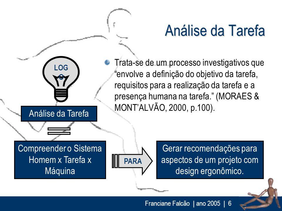 Franciane Falcão   ano 2005  6 Análise da Tarefa Trata-se de um processo investigativos que envolve a definição do objetivo da tarefa, requisitos para