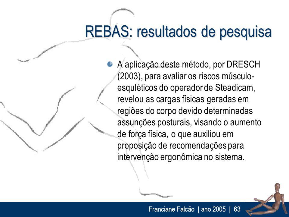 Franciane Falcão   ano 2005  63 REBAS: resultados de pesquisa A aplicação deste método, por DRESCH (2003), para avaliar os riscos músculo- esquléticos