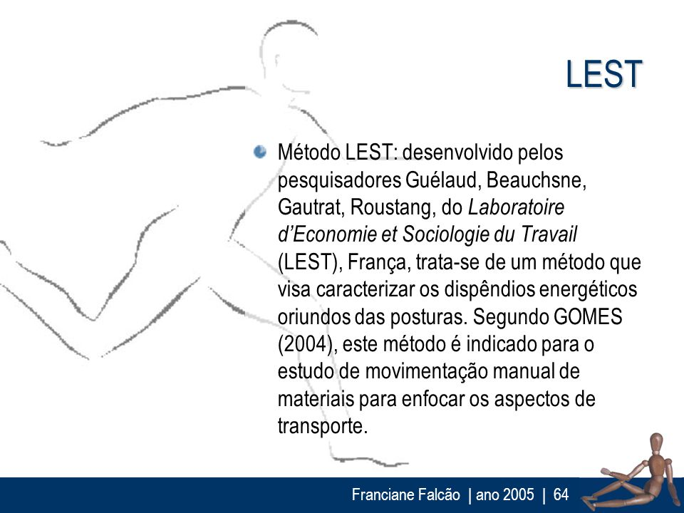 Franciane Falcão   ano 2005  64 LEST Método LEST: desenvolvido pelos pesquisadores Guélaud, Beauchsne, Gautrat, Roustang, do Laboratoire dEconomie et