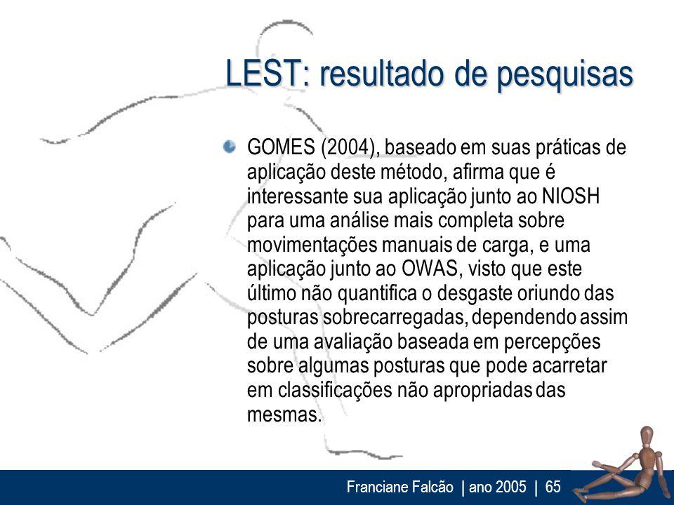 Franciane Falcão   ano 2005  65 LEST: resultado de pesquisas GOMES (2004), baseado em suas práticas de aplicação deste método, afirma que é interessan