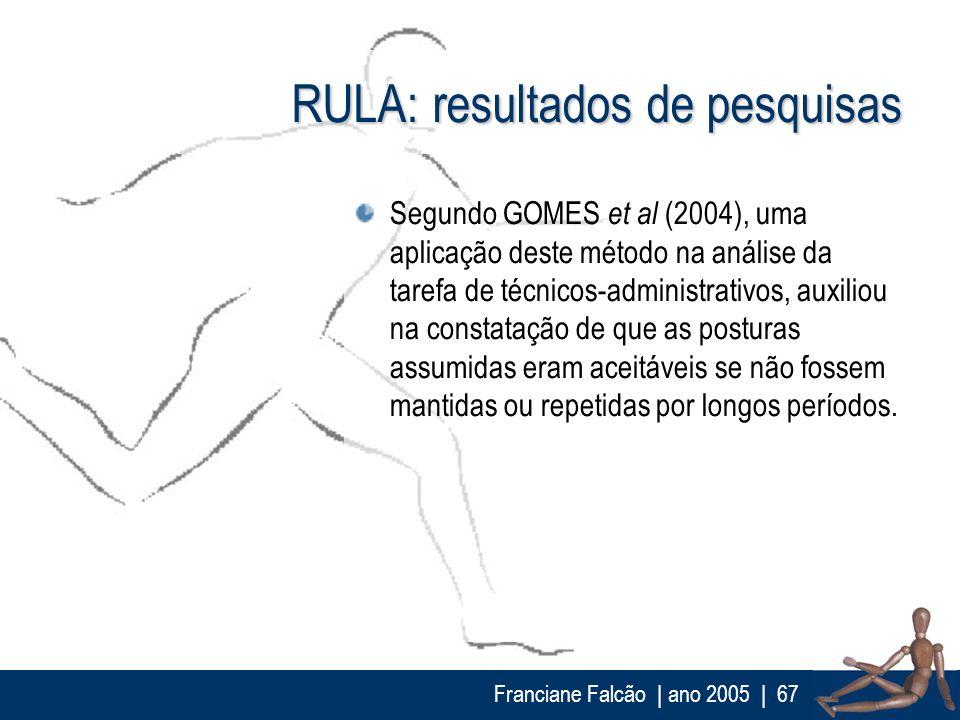 Franciane Falcão   ano 2005  67 RULA: resultados de pesquisas Segundo GOMES et al (2004), uma aplicação deste método na análise da tarefa de técnicos-