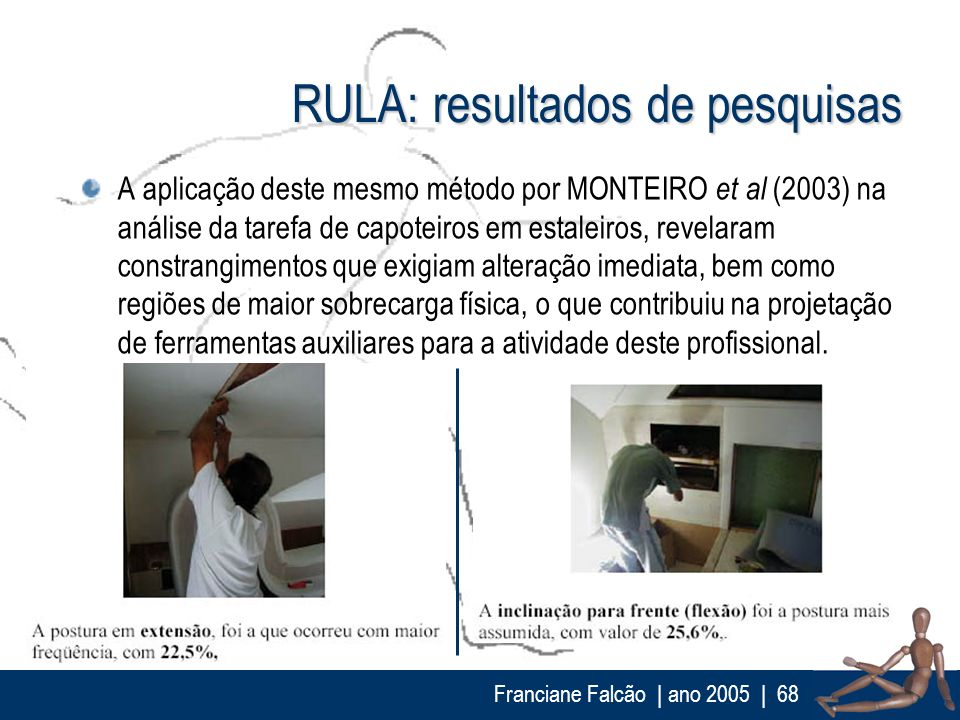 Franciane Falcão   ano 2005  68 RULA: resultados de pesquisas A aplicação deste mesmo método por MONTEIRO et al (2003) na análise da tarefa de capotei