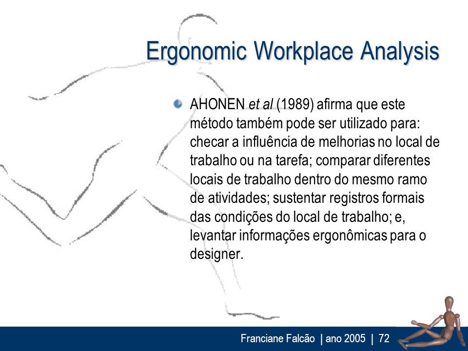 Franciane Falcão   ano 2005  72 Ergonomic Workplace Analysis AHONEN et al (1989) afirma que este método também pode ser utilizado para: checar a influ