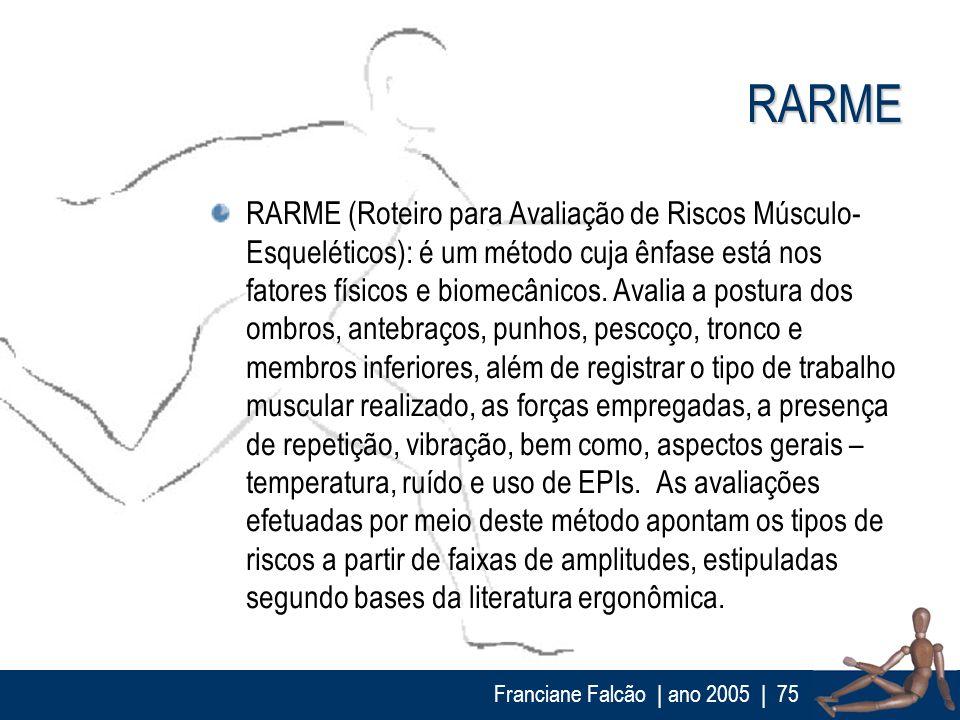 Franciane Falcão   ano 2005  75 RARME RARME (Roteiro para Avaliação de Riscos Músculo- Esqueléticos): é um método cuja ênfase está nos fatores físicos
