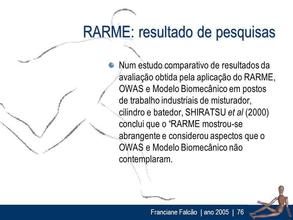 Franciane Falcão   ano 2005  76 RARME: resultado de pesquisas Num estudo comparativo de resultados da avaliação obtida pela aplicação do RARME, OWAS e