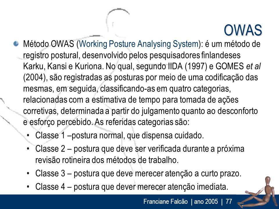 Franciane Falcão   ano 2005  77 OWAS Método OWAS (Working Posture Analysing System): é um método de registro postural, desenvolvido pelos pesquisadore