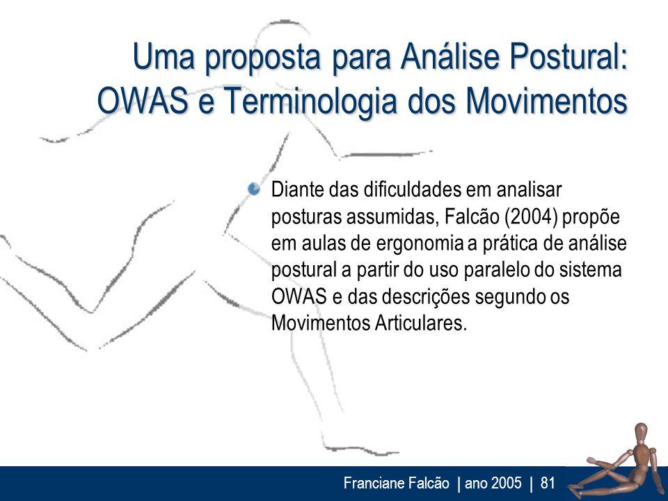 Franciane Falcão   ano 2005  81 Uma proposta para Análise Postural: OWAS e Terminologia dos Movimentos Diante das dificuldades em analisar posturas as