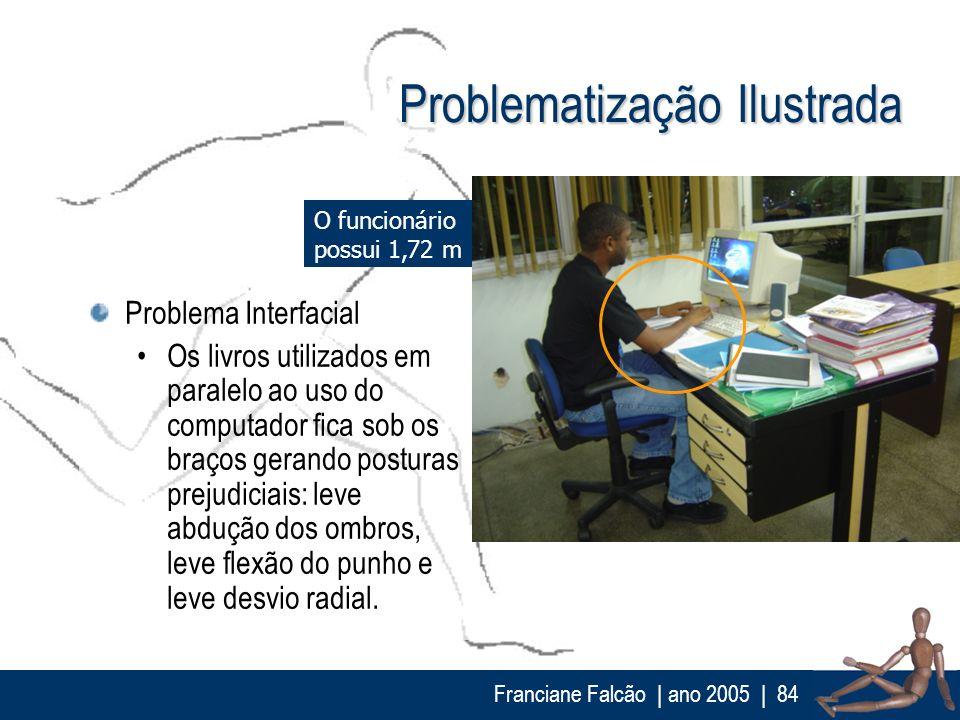 Franciane Falcão   ano 2005  84 Problematização Ilustrada Problema Interfacial Os livros utilizados em paralelo ao uso do computador fica sob os braço