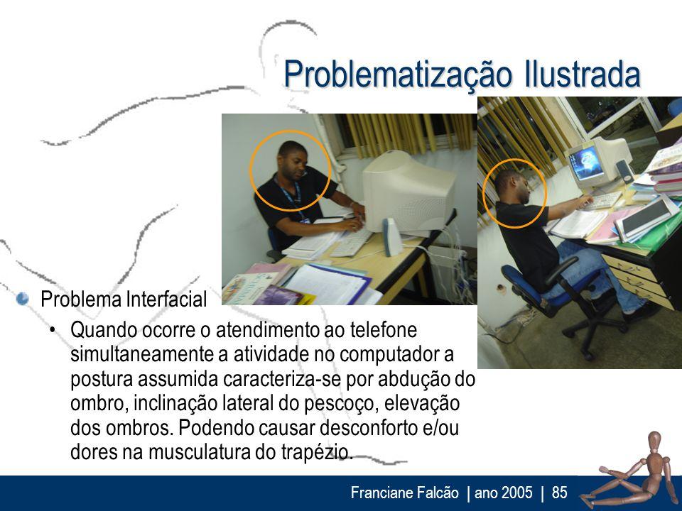 Franciane Falcão   ano 2005  85 Problematização Ilustrada Problema Interfacial Quando ocorre o atendimento ao telefone simultaneamente a atividade no