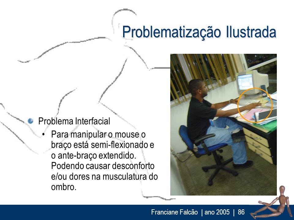 Franciane Falcão   ano 2005  86 Problematização Ilustrada Problema Interfacial Para manipular o mouse o braço está semi-flexionado e o ante-braço exte