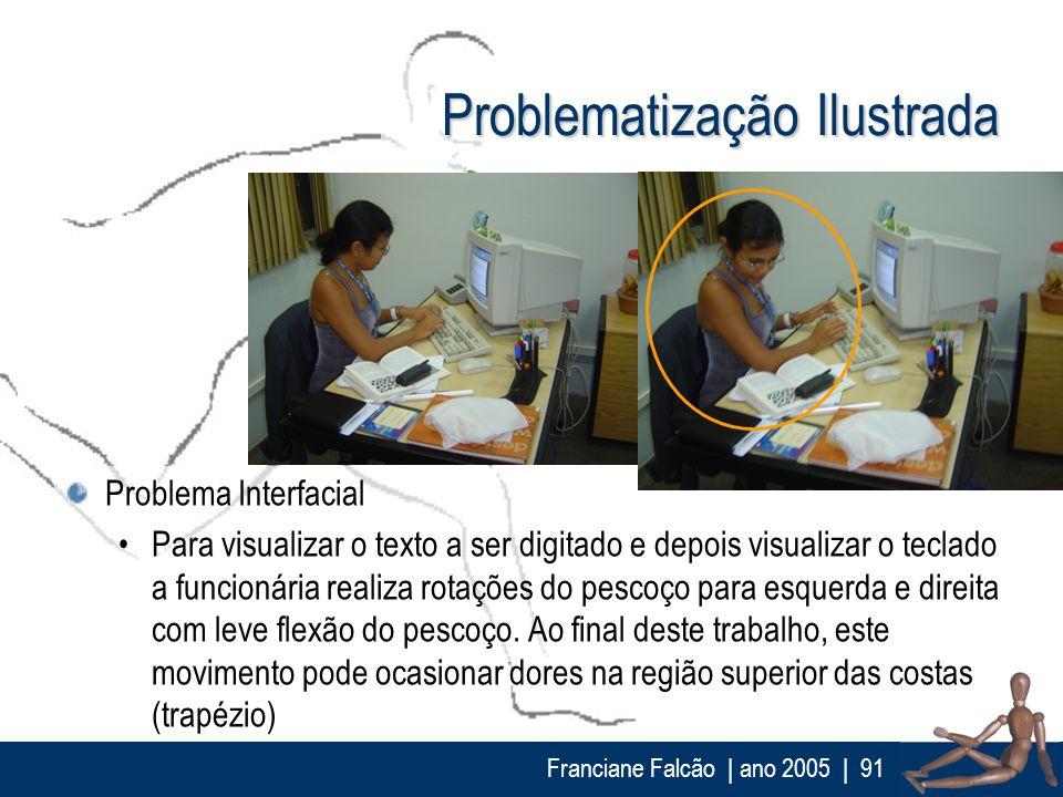 Franciane Falcão   ano 2005  91 Problematização Ilustrada Problema Interfacial Para visualizar o texto a ser digitado e depois visualizar o teclado a
