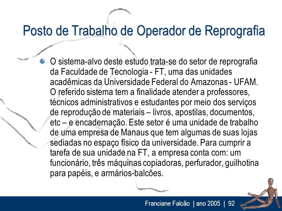 Franciane Falcão   ano 2005  92 Posto de Trabalho de Operador de Reprografia O sistema-alvo deste estudo trata-se do setor de reprografia da Faculdade