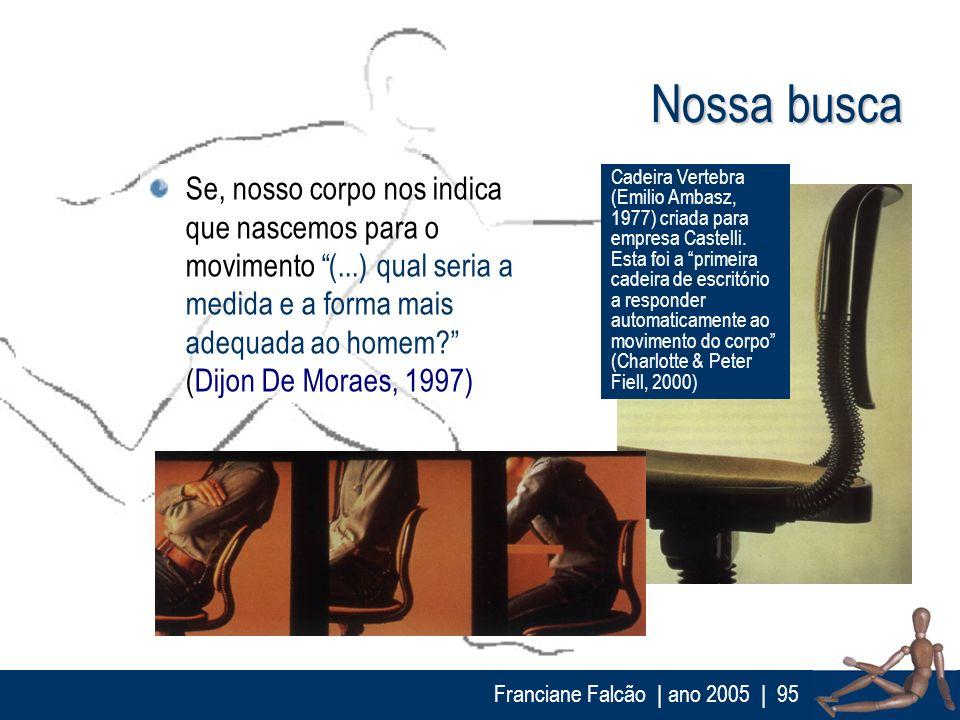Franciane Falcão   ano 2005  95 Se, nosso corpo nos indica que nascemos para o movimento (...) qual seria a medida e a forma mais adequada ao homem? (