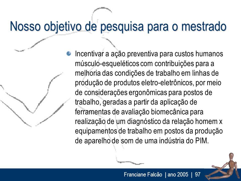 Franciane Falcão   ano 2005  97 Nosso objetivo de pesquisa para o mestrado Incentivar a ação preventiva para custos humanos músculo-esqueléticos com c