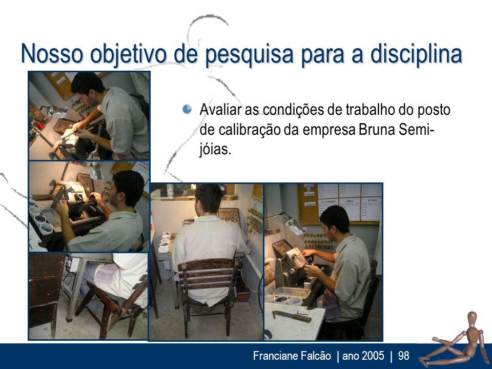 Franciane Falcão   ano 2005  98 Nosso objetivo de pesquisa para a disciplina Avaliar as condições de trabalho do posto de calibração da empresa Bruna
