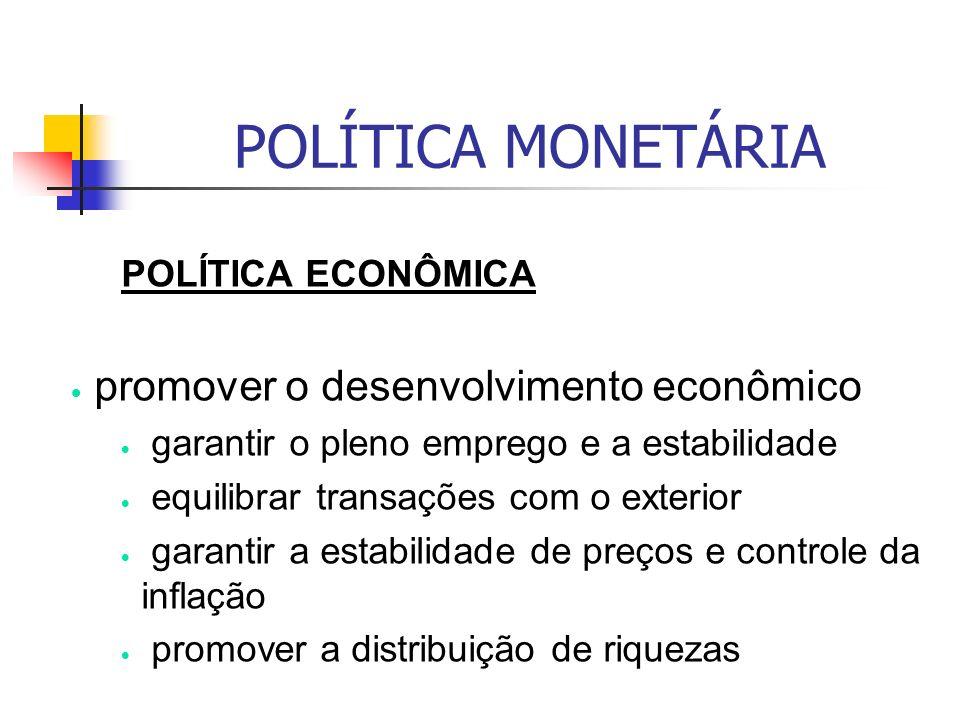 POLÍTICA MONETÁRIA POLÍTICA ECONÔMICA promover o desenvolvimento econômico garantir o pleno emprego e a estabilidade equilibrar transações com o exterior garantir a estabilidade de preços e controle da inflação promover a distribuição de riquezas