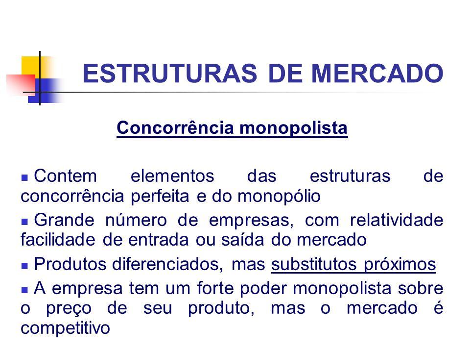 ESTRUTURAS DE MERCADO Concorrência monopolista Contem elementos das estruturas de concorrência perfeita e do monopólio Grande número de empresas, com