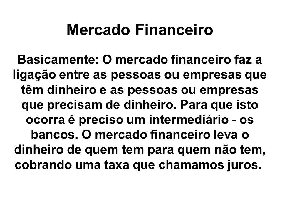 Mercado Financeiro Basicamente: O mercado financeiro faz a ligação entre as pessoas ou empresas que têm dinheiro e as pessoas ou empresas que precisam