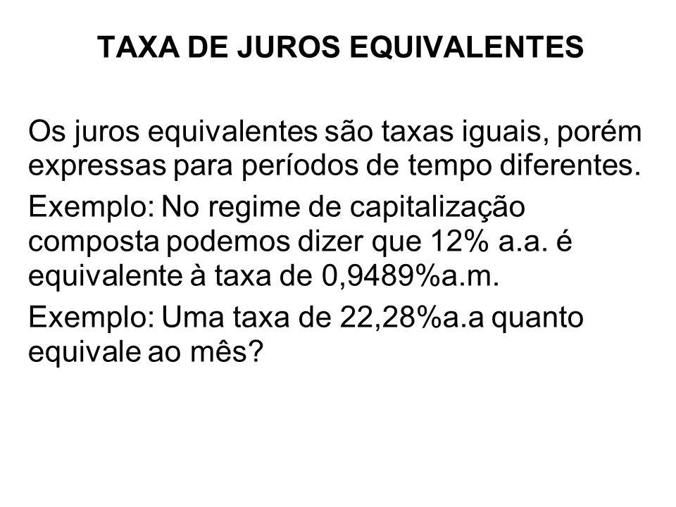 TAXA DE JUROS EQUIVALENTES Os juros equivalentes são taxas iguais, porém expressas para períodos de tempo diferentes. Exemplo: No regime de capitaliza