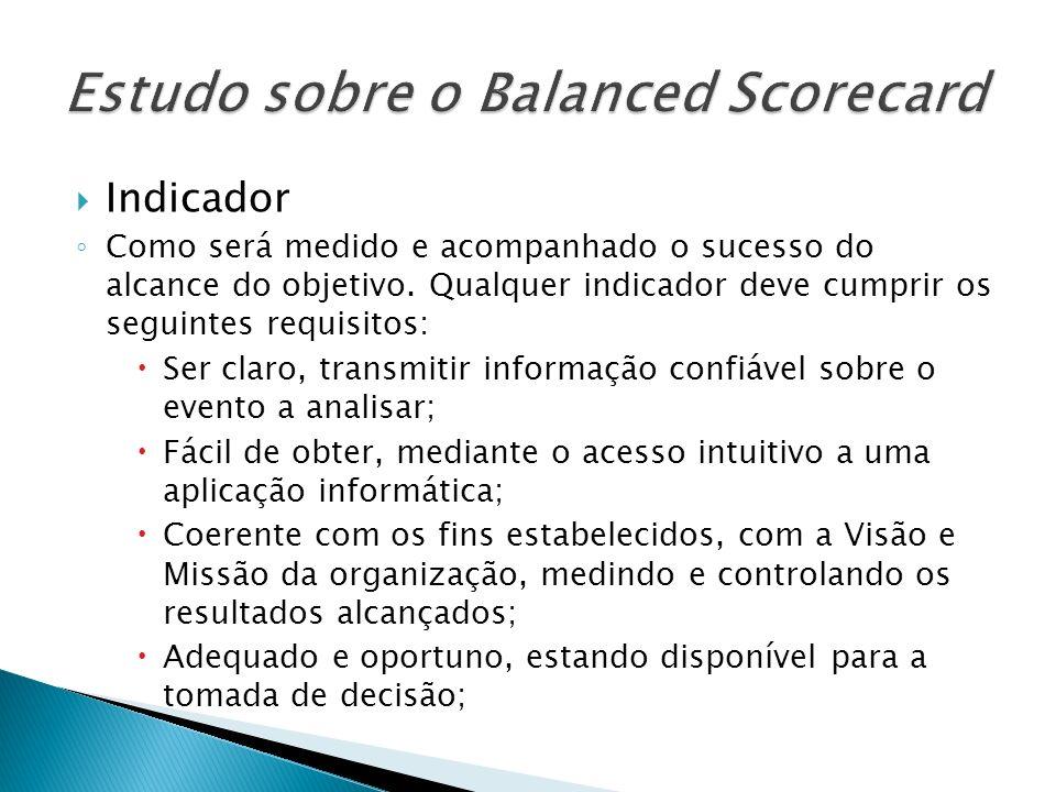 Indicador Como será medido e acompanhado o sucesso do alcance do objetivo. Qualquer indicador deve cumprir os seguintes requisitos: Ser claro, transmi