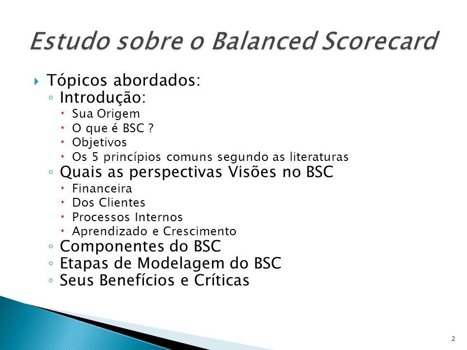 Tópicos abordados: Introdução: Sua Origem O que é BSC ? Objetivos Os 5 princípios comuns segundo as literaturas Quais as perspectivas Visões no BSC Fi