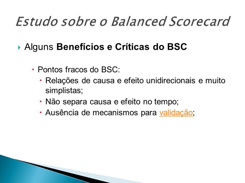 Alguns Benefícios e Críticas do BSC Pontos fracos do BSC: Relações de causa e efeito unidirecionais e muito simplistas; Não separa causa e efeito no t