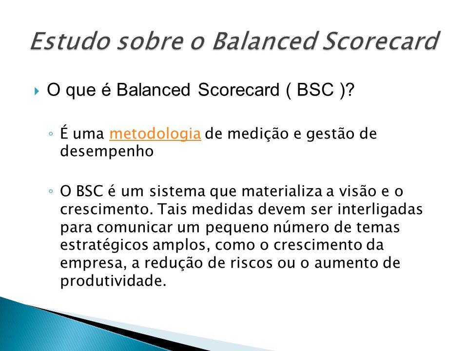 O que é Balanced Scorecard ( BSC )? É uma metodologia de medição e gestão de desempenhometodologia O BSC é um sistema que materializa a visão e o cres