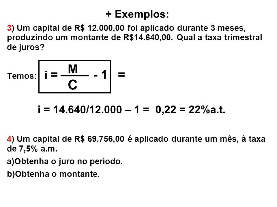 + Exemplos: 3) Um capital de R$ 12.000,00 foi aplicado durante 3 meses, produzindo um montante de R$14.640,00. Qual a taxa trimestral de juros? Temos: